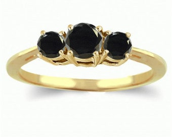 14k yellow gold ring  black diamonds
