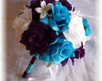 Wedding Flowers 8pc Bridal Round Bouquet Malibu Turquoise Blue Plum Purple White Roses Stephanotis