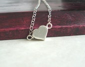 Sterling Silver Heart Necklace Small Heart Minimalist Jewelry Valentine's Gift Idea Collier Coeur en Argent