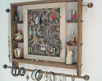 Large Jewelry Organizer with Shelves, Jewelry Organizer, Earring Holder, Necklace Holder, Cottage Chic, Rustic, Shabby Chic, Dorm Room