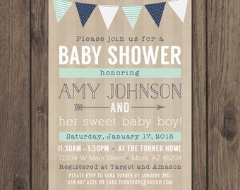 RUSTIC BABY SHOWER Invitation - Baby Boy Shower Invitation - Mint and Navy - Rustic Chic