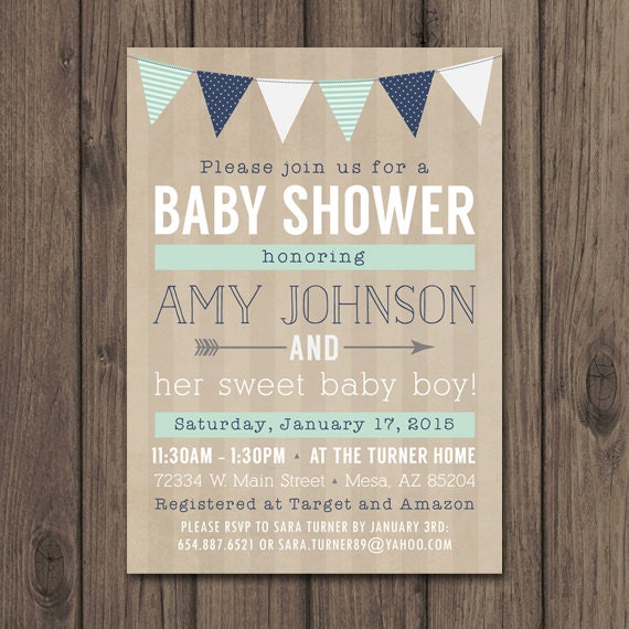 rustic baby shower invitation baby boy shower invitation