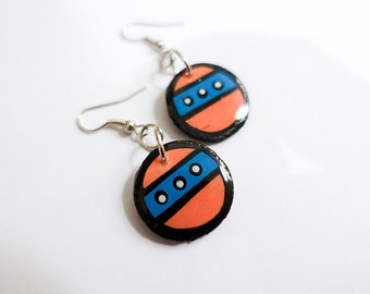 Small Bold Handpainted Circular Salmon and Turquoise Inspired Earrings
