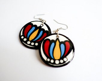Modern, Small Southwestern Flower Blossom Earrings in Turquoise, Red and Yellow