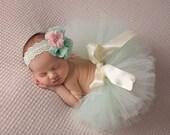 Mint tutu and headband set, newborn tutu, baby tutu, photography prop, newborn photography prop, vintage headband