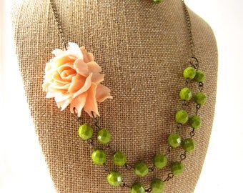 Peach Flower Necklace Green Necklace Double Strand Necklace Peach Bridesmaid Jewelry Set Rustic Wedding Jewelry Beaded Flower Necklace
