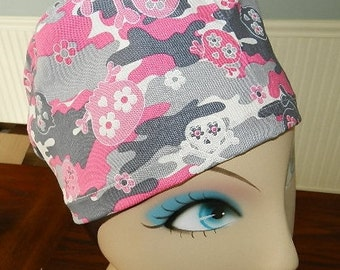 Pink Camo Skulls  European Style  Surgical Scrub Cap with Toggle