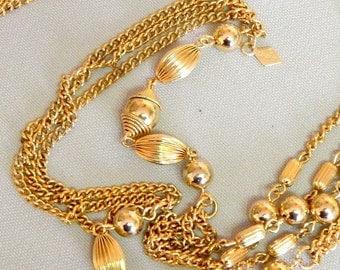 Vintage, Sarah Cov., Gold Lariat Necklace
