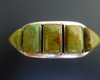 Handmade Sterling Silver and Green Turquoise Cuff - Green Turquoise Silver Bracelet - Turquoise Cuff
