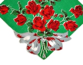 Retro Floral Hankie Linen Hankie Handkerchief  Red Flowers Rose Bouquet on Green Gift for Her
