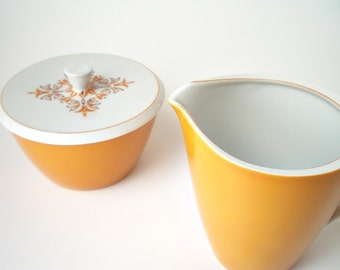 Mid Century China Cream and Sugar Porcelain Creamer & Sugar / Creamer Harvest Gold Retro Kitchen Decor