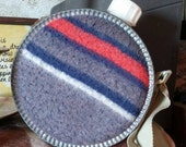 Vintage wool canteen, gray blue and red stripe, metal circle flask
