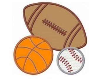 Sports applique machine embroidery design