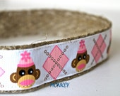 Monkey Dog Collar, Argyle Dog Collar, Girl Dog Collar, Sale Collar, Sock Monkey Collar