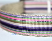 ON SALE - Stripe Dog Collar, Easter Dog Collar, Preppy Dog Collar, Purple and Pink Dog Collar