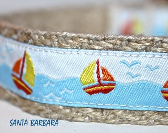 ON SALE - Sailboat Dog Collar, Colorful Sail Dog Collar, Harbor Dog Collar, Nautical Collar, Santa Barbara Collar