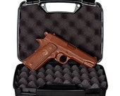 CHOCOLATE GUN - Full Size Hand-Crafted Solid Milk Chocolate Handgun with REAL Gun Case