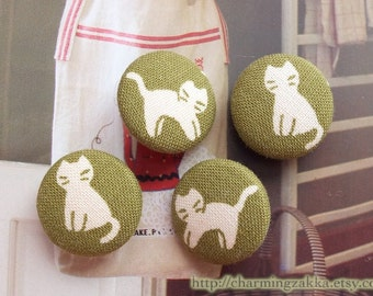 Fabric Covered Buttons (M) -Kawaii Kitty Cats On Macha Green (4Pcs, 0.75 Inch)