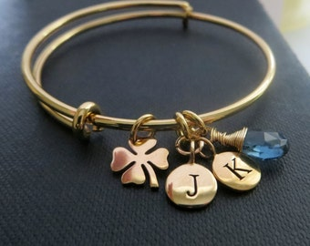 Gift for aunt, personalized bangle, initial birthstone bracelet, shamrock, lucky bracelet, four leaf clover, teachers appreciation