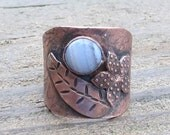 Native American Inspired Blue Lace Agate and Copper Ring - Size 8