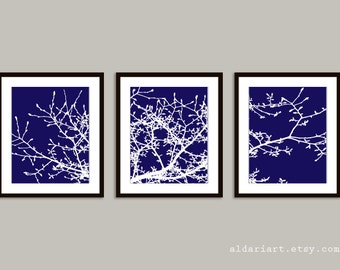 Magnolia Tree Branches Art Prints - Set of 3 - Navy Blue and White - Nature Home Decor - Modern Tree Wall Art - Tree Triptych