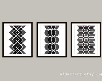 Mid Century Geometric Digital Print Set - Modern Home Decor - Black and White