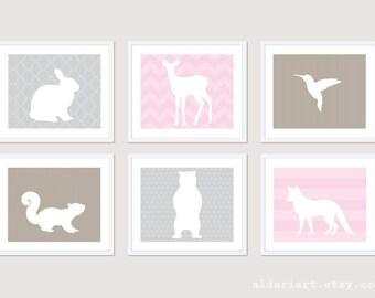 Forest Animals - Woodland Animals Nursery Art Print - Pink Grey and Light Taupe - Rabbit Deer Bird Squirrel Bear Fox