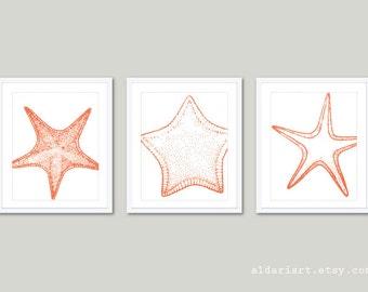 Vintage Starfish Art Prints Trio - Coral - Nautical Home Decor - Coastal Wall Art - Beach House Decor