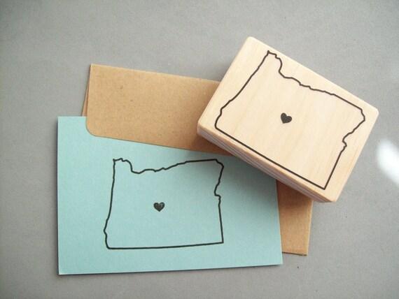 Custom US State Rubber Stamp with Heart Over Your City California Oregon Michigan Florida Texas Washington Montana New York