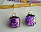 Midnight Blue Earrings with Pink Swirls Dichroic Glass Petite Earrings Fused Glass Earrings Short  Dangle Small Earring Iridescent Glass