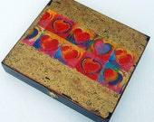 Sweetheart Box reuse black wood cigar box upcycled decoupage Peter Max heart  paper on gold paint top