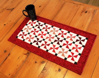 Red Pinwheels Quilted Table Runner
