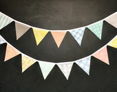 Gender Neutral Nursery Decor / Bunting Banner Flag Garland / Baby Shower / Peach Mint Grey Yellow Blue