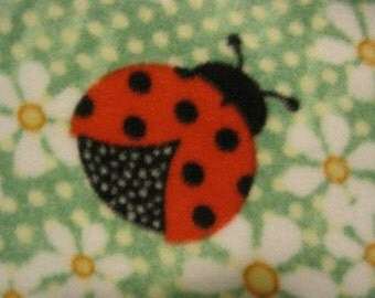 Lady Bugs on Green Daisies with Yellow Lap Car bed Coverlet - This Blanket is Ready to Ship Now