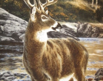 Deer in a Stream with Green Fleece Blanket - Ready to Ship Now