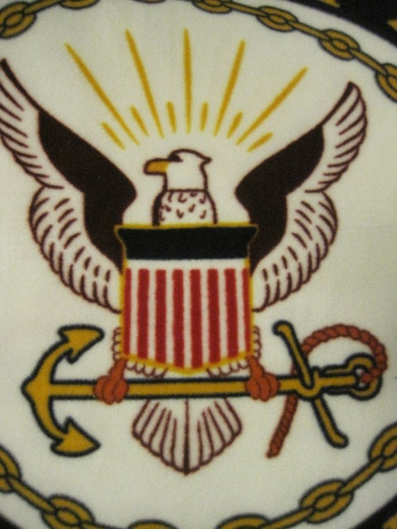 Navy Insignia Emblem Fleece Blanket - Ready to Ship Now