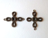 Vintage Cross Connector Link - Settings for Rhinestones - 45mm - Antiqued Silver Tone Gothic Style Sturdy Metal Casting