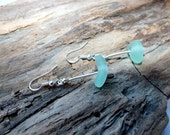Pierced Earrings - Sea Glass Earrings - Sterling Earrings - Dangle Earrings - Lake Erie Beach Glass