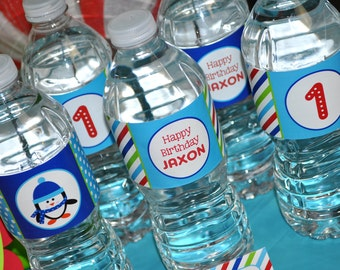 Penguin Water Bottle Labels - Boy Penguin Birthday Party - Winter Onederland Birthday Party Decorations  - Set of 10