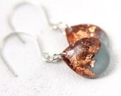 turquoise teardrop earrings with copper glitter and flakes, drop earrings, copper earrings, turquoise earrings, glitter earrings