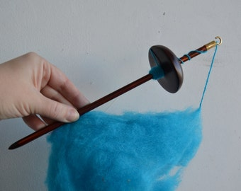 Brown Top Whorl Drop Spindle Wood Deep Dark  Color With Some Lovely Wool - Sky Blue Wool - Learn How to Spin Yarn