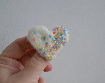 FREE SHIPPING - Wool Felt Pin White Heart with Cotton Candy Color Beads - Whimsical Winter Accessory Brooch - Little Gift Idea Under 15 USD