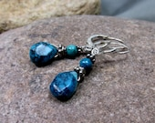 Artisan Handmade, Turquoise, Sterling Silver, on Sterling Silver Flor d' Lis Lever Back Ear Wires