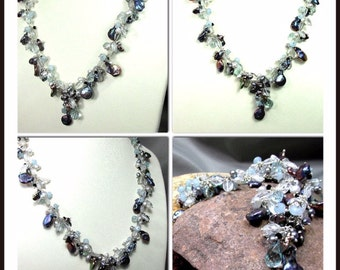 DONATED Necklace for a Queen - Aquamarine, Aquamarine Quartz , Peacock Keishe Pearls, Spinel, Pearls  with Sterling Silver