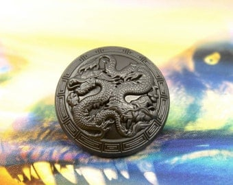 Metal Buttons - Double Dragons Metal Shank Domed Buttons in Gunmetal Color - 0.91 inch - 10 pcs