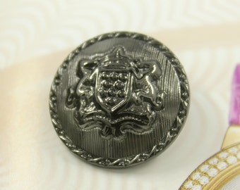 Metal Buttons - Horse Crown Shield Metal Buttons , Gunmetal Color , Domed , Shank , 1 inch , 10 pcs