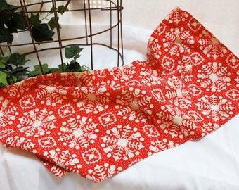 Red Snowflake Sack Cloth, Feed Sack, Flour Sack Vintage Cotton Fabric