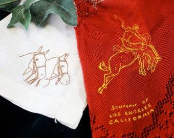 2 Equestrian Handkerchiefs, Horse Embroidered Hankie - N