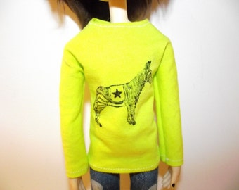 Sale Bright yellow green long sleeve zebra shirt sweater for Taeyang
