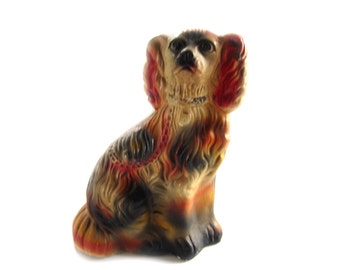 """Vintage Cavalier King Charles Chalkware Spaniel 11"""" Inches Tall Carnival Prize"""